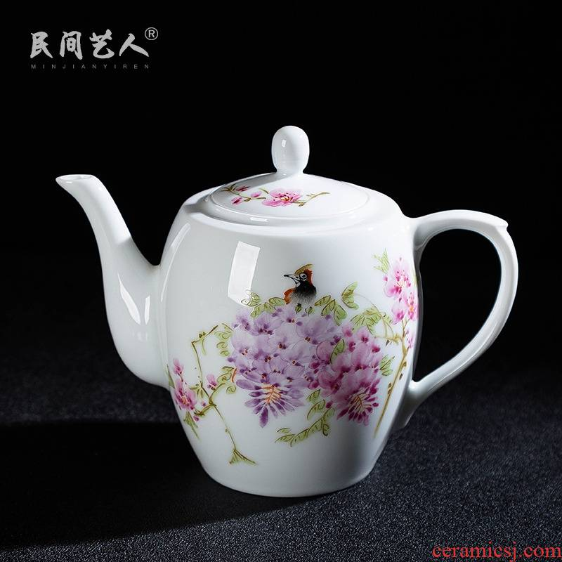 Jingdezhen ceramic hand - made tea kettle kung fu tea set famille rose tea, tea taking single pot of domestic cold water