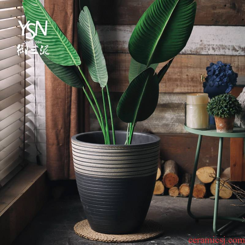 Royal three Nordic mud creative I and contracted potted plant decorative potted ceramic green plant hydroponic indoor large caliber