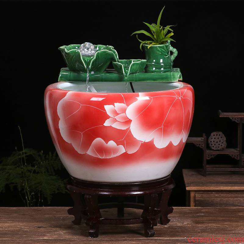 Jingdezhen ceramic aquarium home sitting room extra large turtle cylinder water fountain brocade carp goldfish bowl furnishing articles