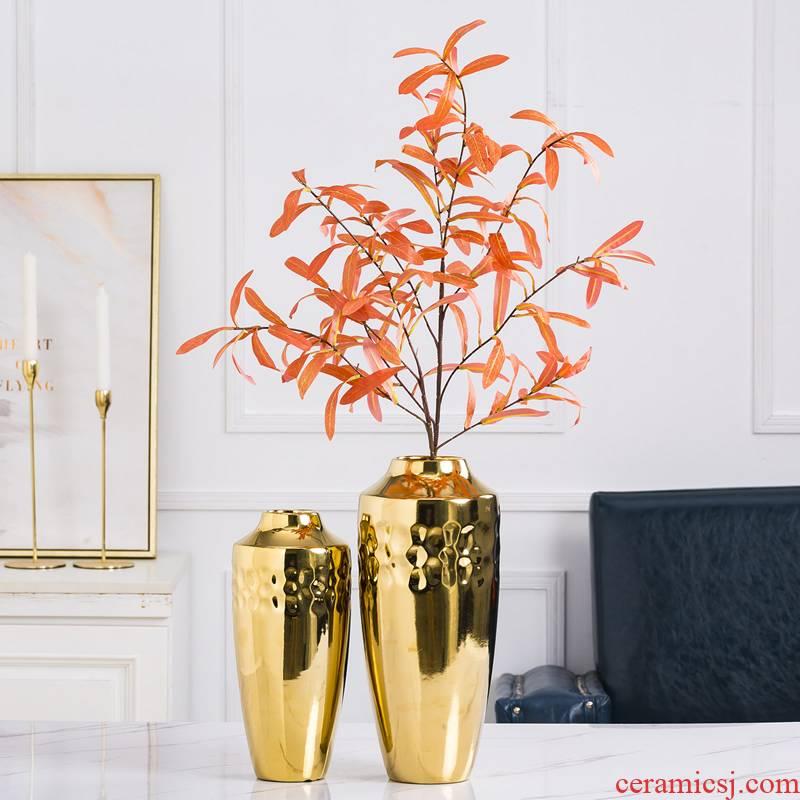 Modern light key-2 luxury ceramic vase furnishing articles Nordic sitting room, dried flowers, golden flower implement creative contracted porcelain decorative flower arrangement