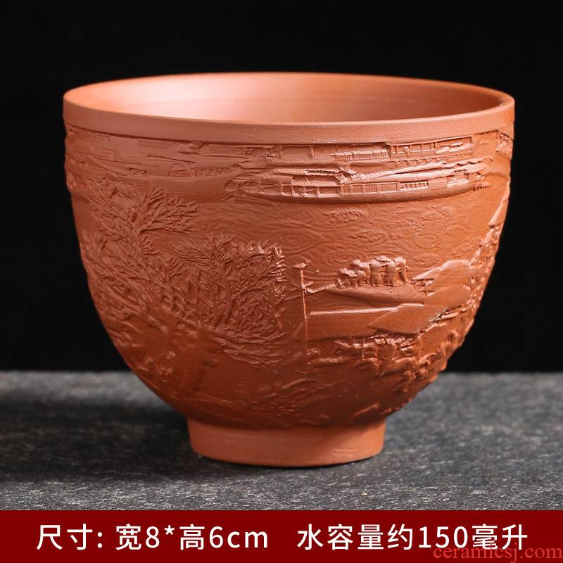 Violet arenaceous masters cup a single large cup bowl kung fu tea set sample tea cup personal tea cups, ceramic engraving
