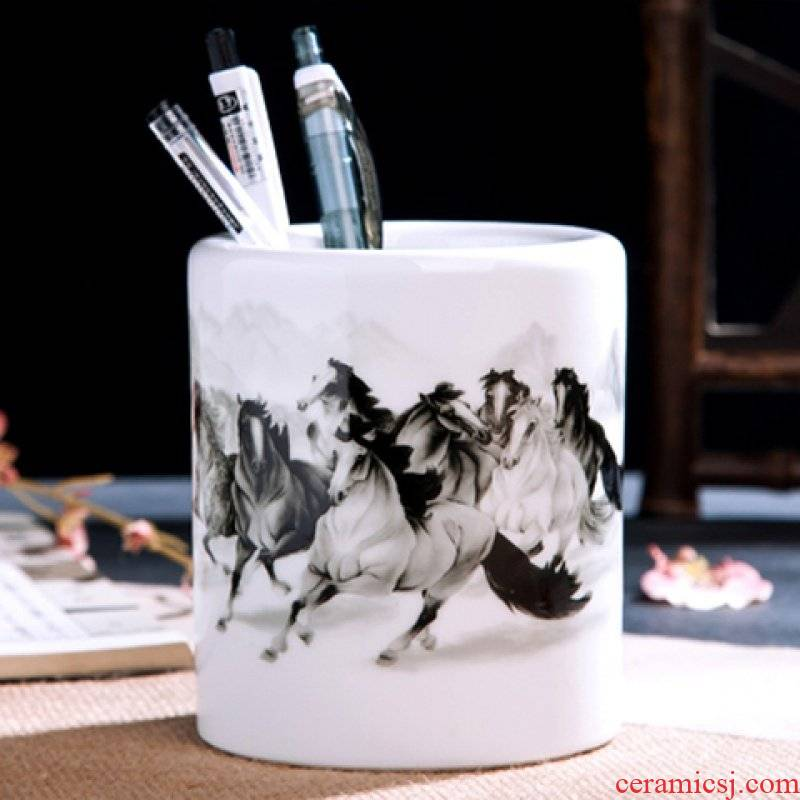 Ceramic brush pot Chinese wind restoring ancient ways office desktop furnishing articles writing brush wipe boxes creative fashion