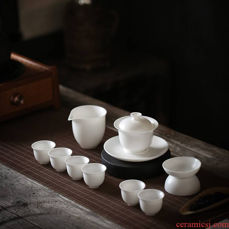 Dehua white porcelain kung fu tea set suit household pure white tureen teapot teacup office of a complete set of gift boxes