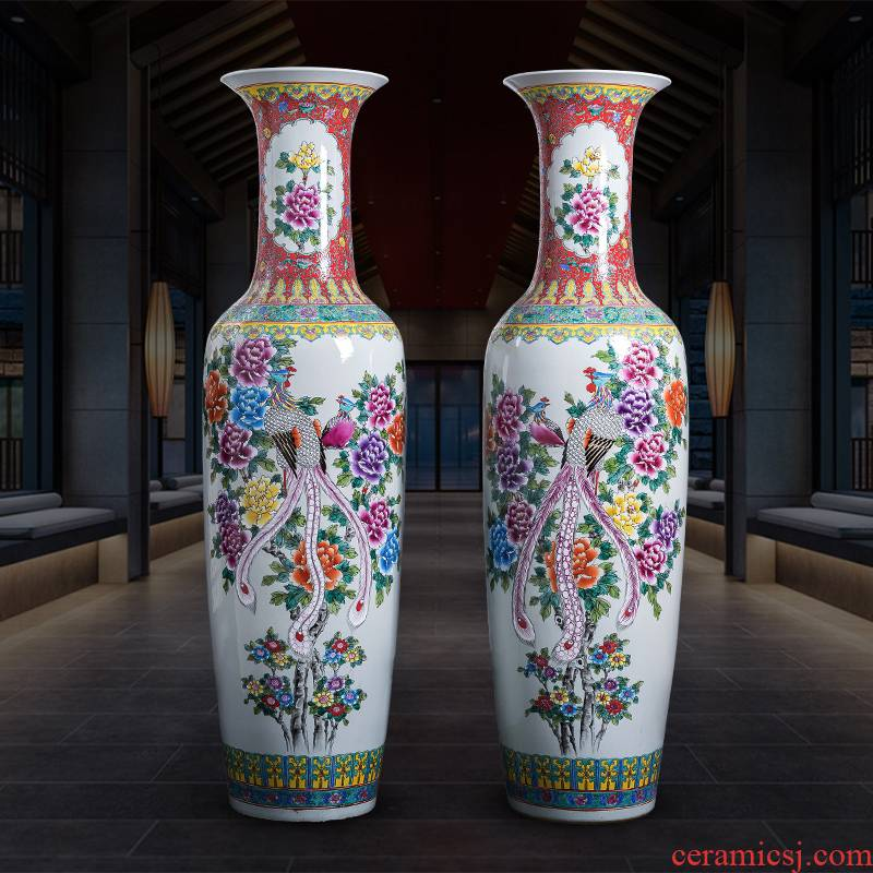 Jingdezhen porcelain ceramic floor extra large size vase hand - made pastel peony phoenix hotel sitting room adornment is placed