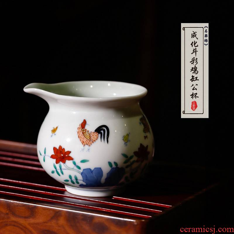 The Poly real boutique scene color jingdezhen ceramic chenghua kung fu tea set fair keller fights the color chicken cylinder cups of tea ware