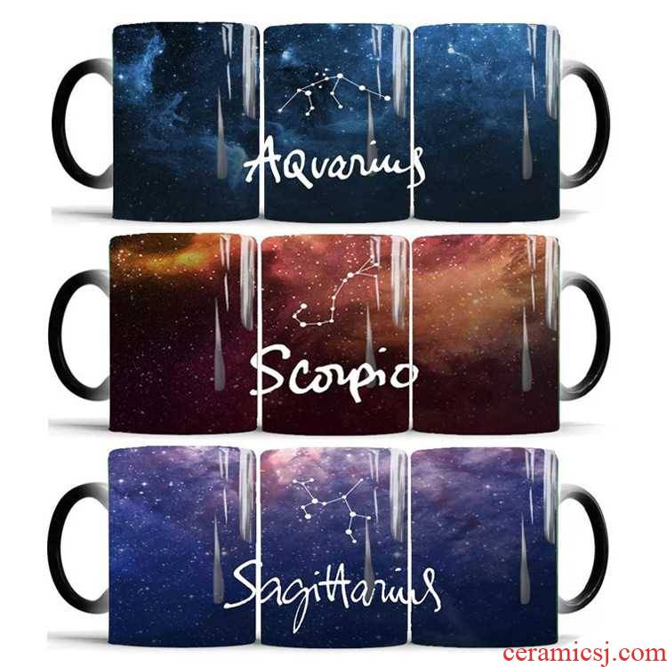 New the zodiac star color changing mugs ceramic thermal warm coffee for breakfast, mark cup birthday present lovers