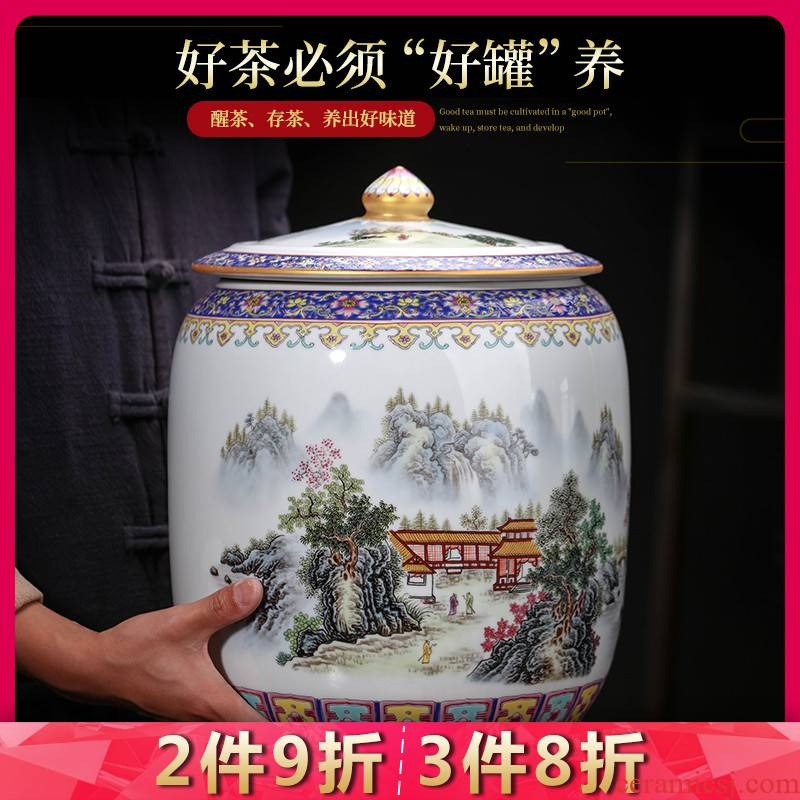 Jingdezhen ceramics caddy fixings large storage tank enamel household barrel with cover puer tea storage jar