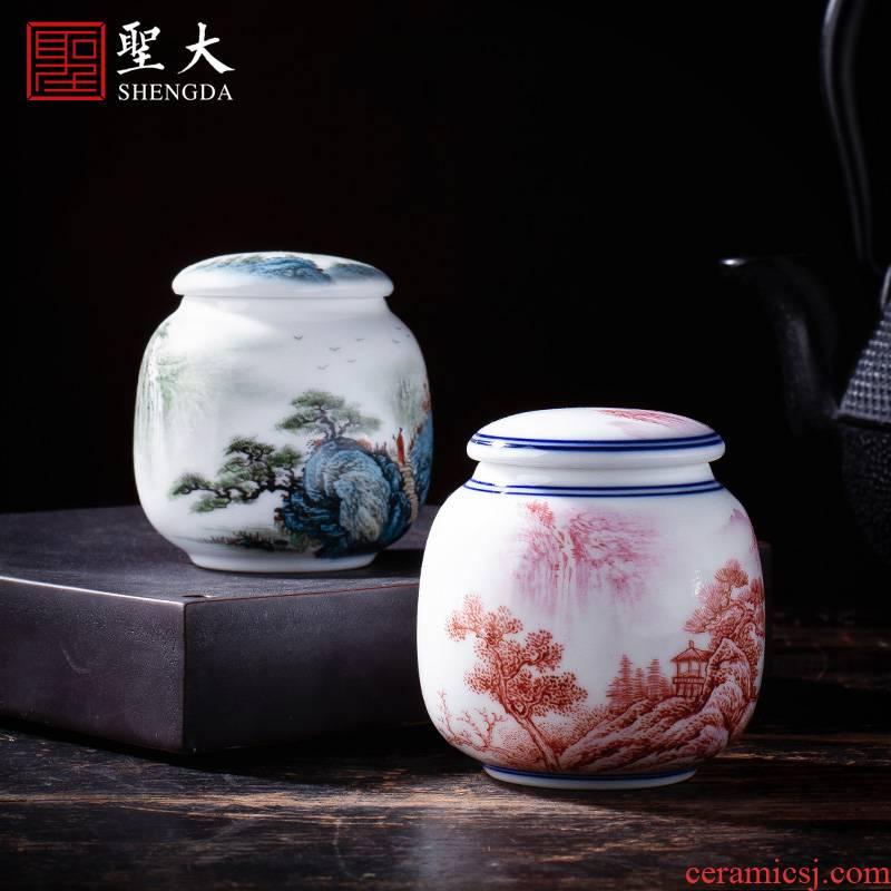 Holy big ceramic tea pot hand - made agate red landscape tank receives all hand jingdezhen tea tea warehouse