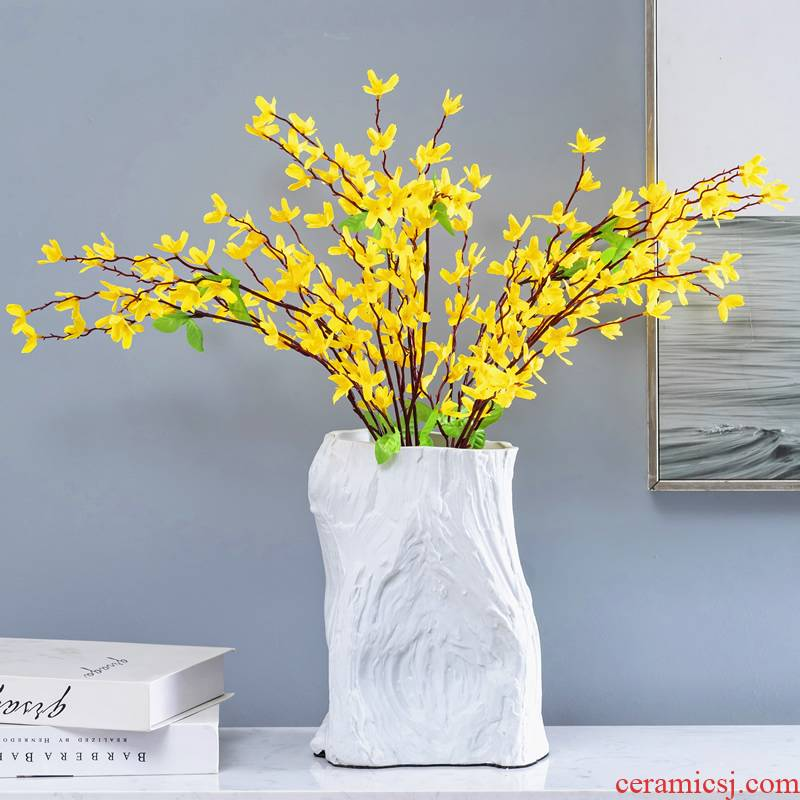 Aquamarine I and contracted sitting room between example ceramic vase hotel furnishing articles creative white matte enrolled dried flower flower arranging flowers