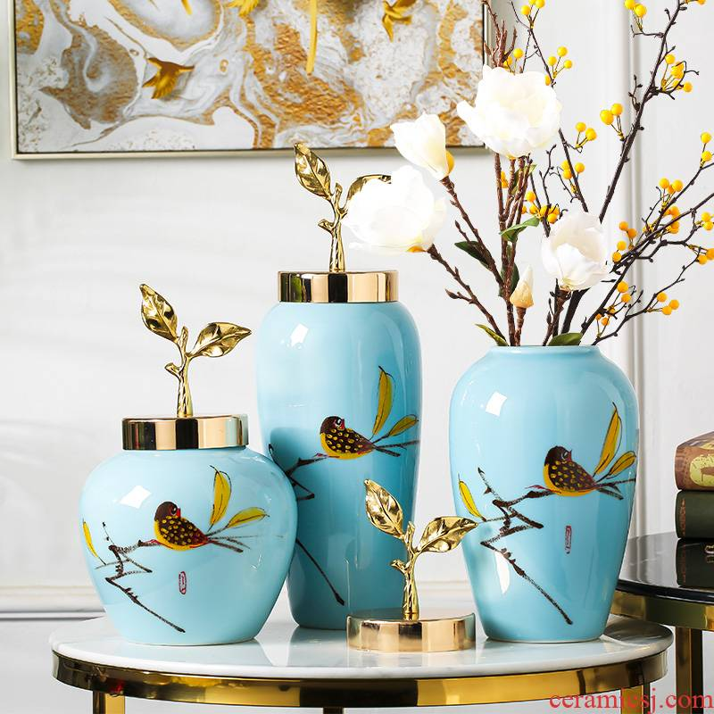 Jingdezhen ceramic vase furnishing articles modern new Chinese style household dried flower arranging flowers sitting room TV cabinet table decorations