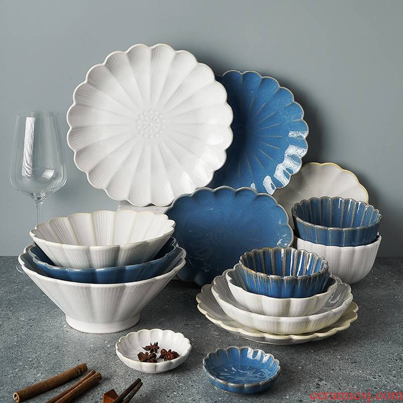Japanese up by ceramic tableware home plate restoring ancient ways round platter steak plate of creative breakfast tray