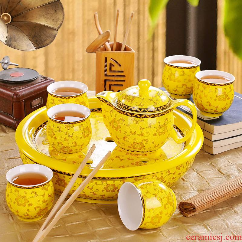 Jingdezhen tea set home yellow tea service of a complete set of ceramic large double teapot teacup tea tray gifts