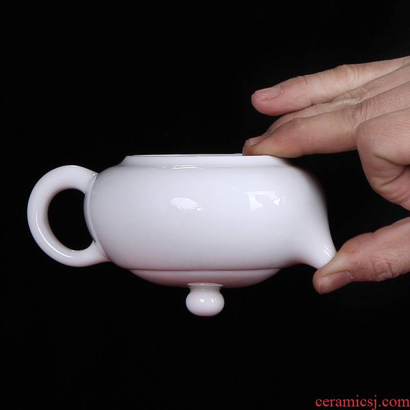 Qiao mu dehua white porcelain of a complete set of kung fu tea set side the beauty fair keller cup teapot lid bowl suit