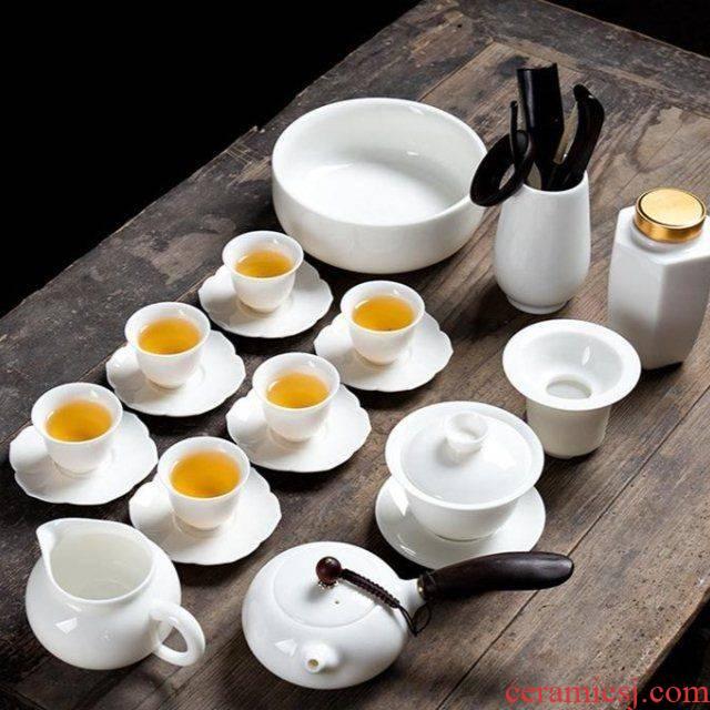 The kitchen hand suet jade porcelain dehua white porcelain kung fu tea set tea tureen household contracted cup teapot