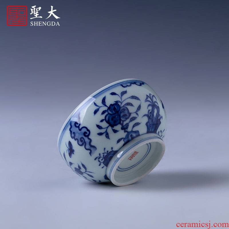 Santa teacups hand - made ceramic kung fu about blue and white flower butterfly tattoo meditation cup sample tea cup manual of jingdezhen tea service