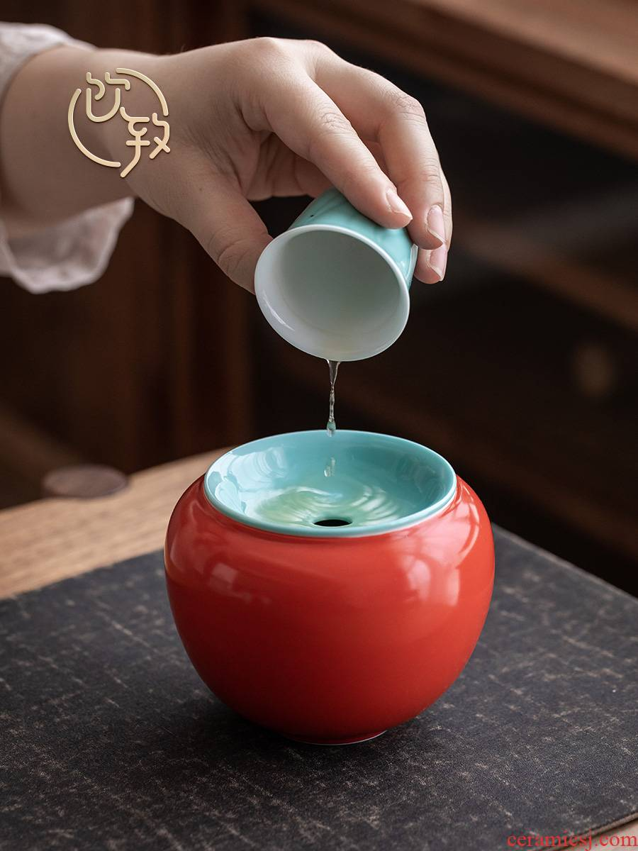 Ultimately responds to the double glaze built water Japanese home zen cup hot wash to small bucket ceramic tea wash to kung fu tea set with a cover on it