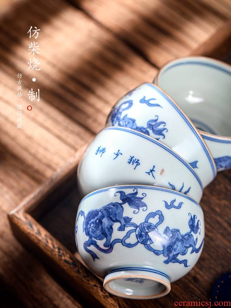 Jingdezhen blue and white master hand - made ceramic cup of pure manual sample tea cup single CPU archaize too lion kung fu tea cups