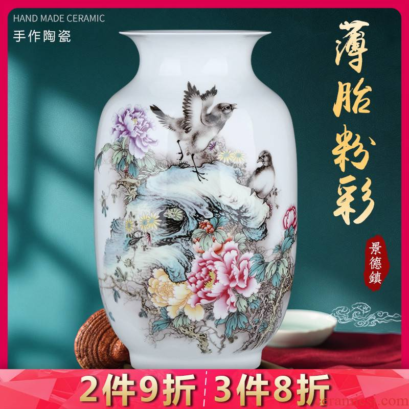 Jingdezhen ceramics sitting room pastel thin foetus porcelain vase household of Chinese style flower arranging TV ark adornment furnishing articles