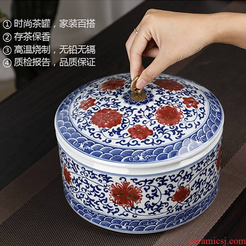 Youligong ceramic tea canister to creative move fashion home furnishing articles wind restoring ancient ways with cover storage tank tea urn