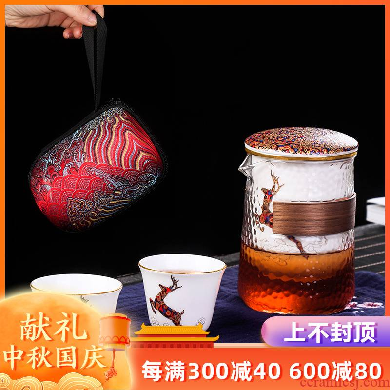 Travel as fairy glass tea set a pot of two cups of on - board, ceramic portable is suing crack cup package kung fu