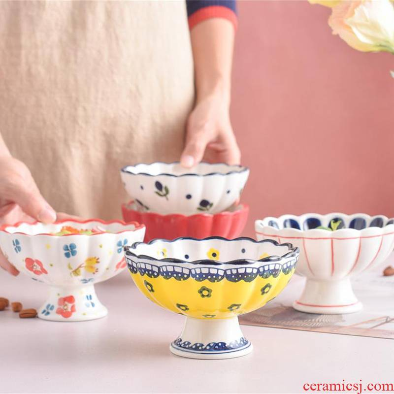 Creative high ceramic dessert pudding bowl of ice cream cup of yogurt cup small milkshake cup bowl bowl of ice cream cup bowl