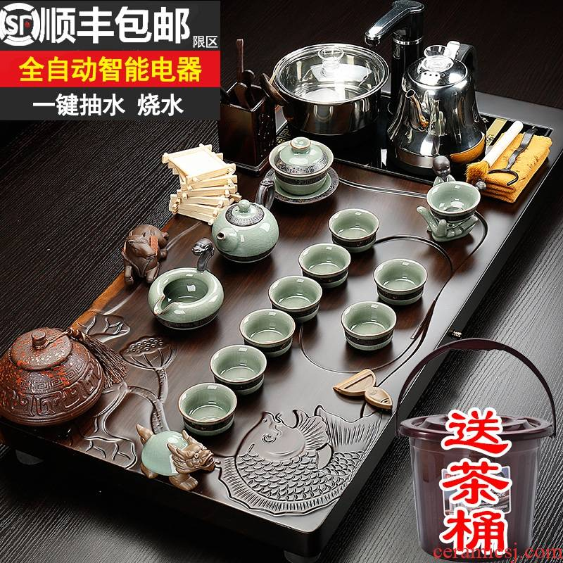 Qiao mu tea set ceramic kung fu tea set ebony wood tea tray of a complete set of fully automatic four one household