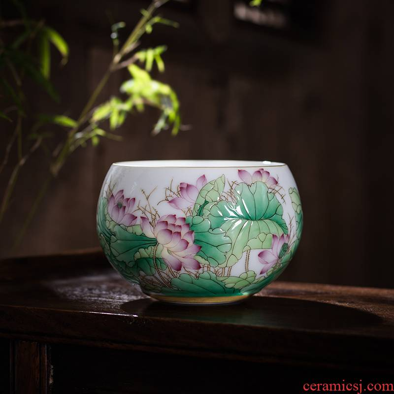 The Owl up jingdezhen tea colored enamel craft ceramic masters cup kung fu tea cup the qing lotus pond was boring cup