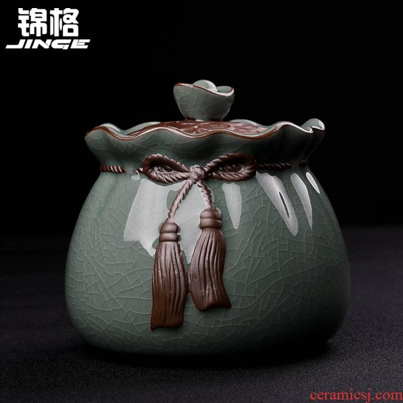 Shadow at small kung fu tea tea caddy fixings ceramics mini portable sealed as cans retro pu - erh tea POTS J