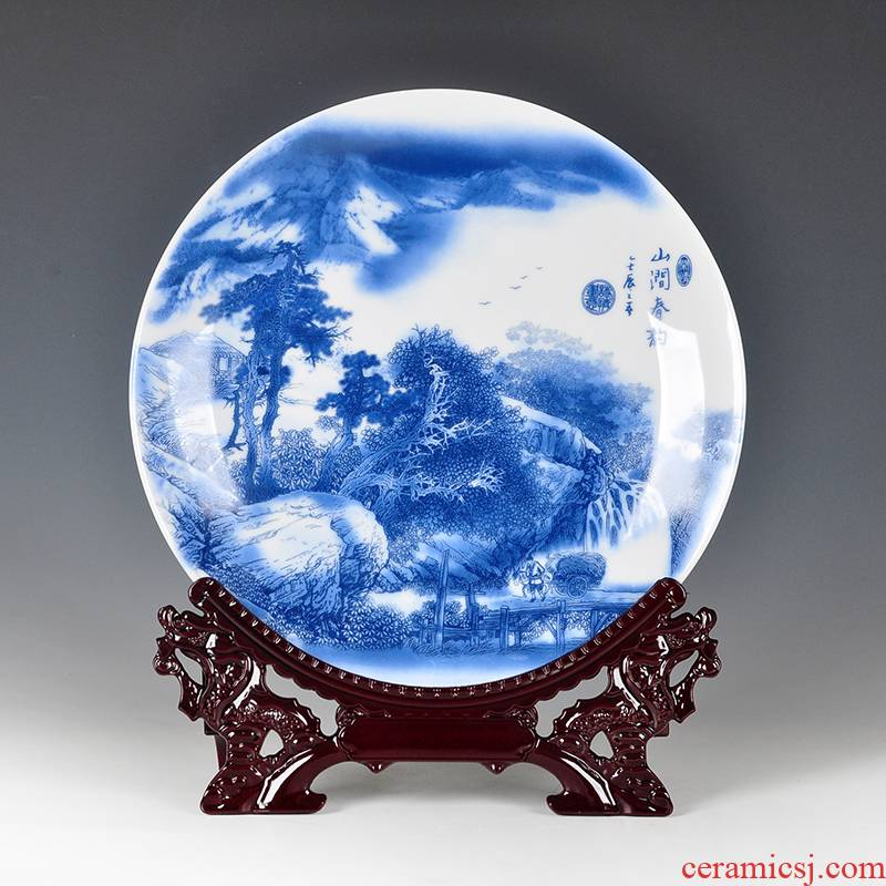 Jingdezhen blue and white porcelain ceramic furnishing articles porcelain plate decoration plate flower plate decoration in modern Chinese style household ornaments