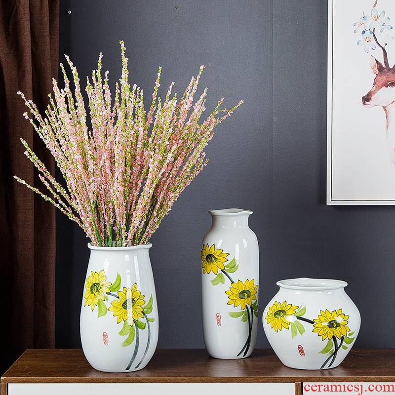 Insert gagarin hand - made ceramic vase simulation flower suit modern household living room table decoration furnishing articles dried flowers