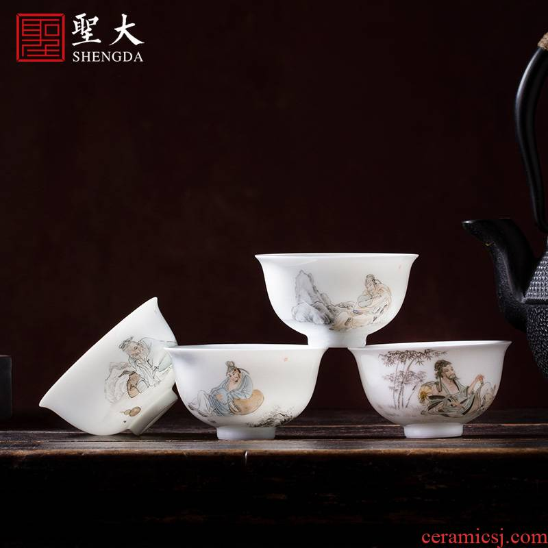 Santa teacups hand - made ceramic kung fu new color ultimately responds four jie sample tea cup masters cup pure manual of jingdezhen tea service