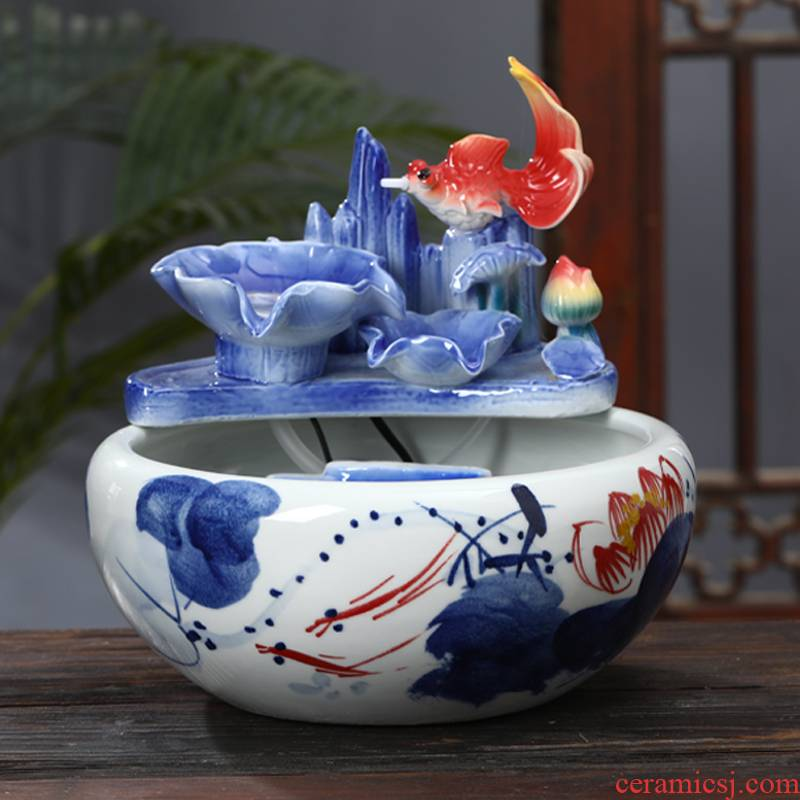 Jingdezhen ceramic aquarium creative furnishing articles circulating water fountain feng shui plutus tortoise cylinder goldfish bowl to office