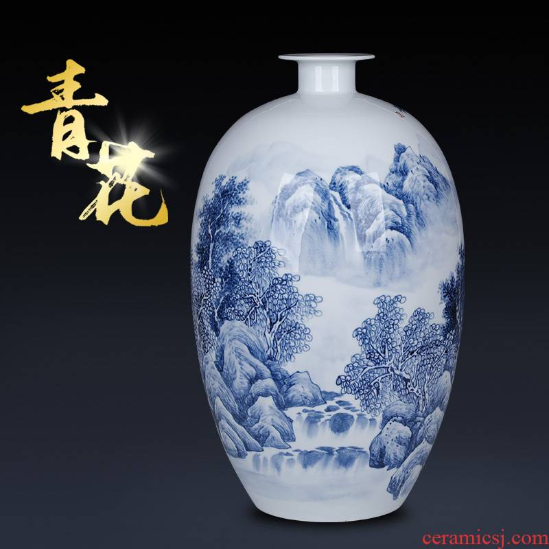Famous hand - made jingdezhen blue and white porcelain vase of new Chinese style household decorates sitting room porch rich ancient frame furnishing articles furnishing articles