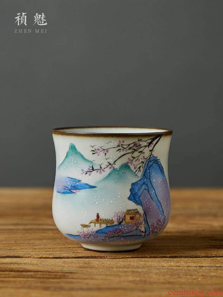 Shot incarnate your up hand - made landscape master of jingdezhen ceramic cups kung fu tea tea cup single CPU open for
