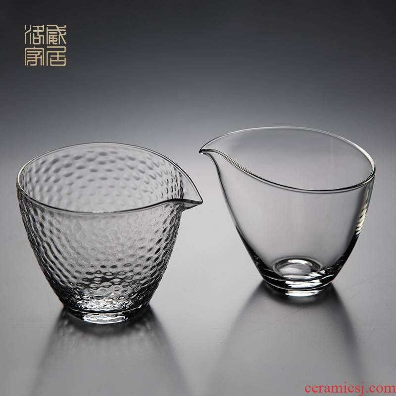 Hammer thickening high - grade jingdezhen kung fu tea set fair keller checking glass and glass heat resistant individual points of tea