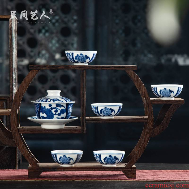 Jingdezhen blue and white porcelain tea sets of a complete set of a suit of household contracted ceramic kung fu tea tea machine the box office