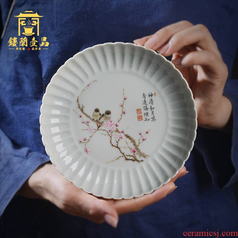 Jingdezhen ceramic kung fu tea pot bearing beaming dry mercifully tea tray was all hand - made enamel disc cup saucer