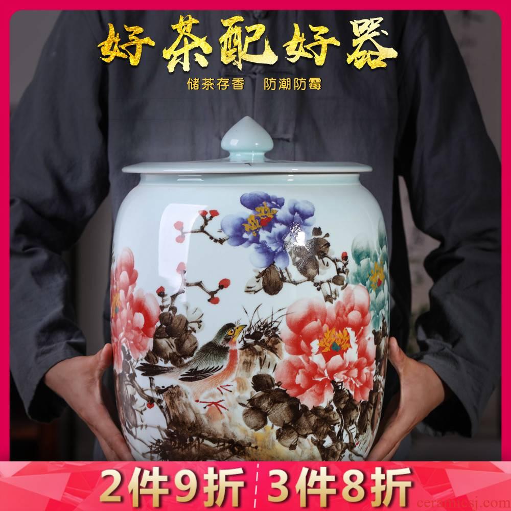 Jingdezhen ceramics rich flower tea pot seal moisture mildew storage tank receives large with cover