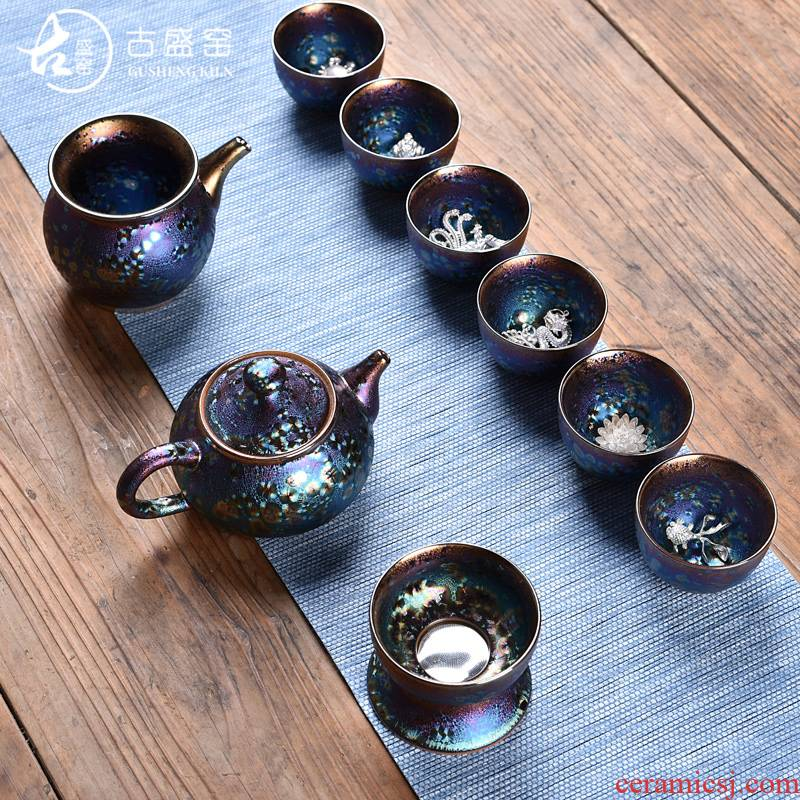 The Set of ancient sheng up new up temmoku colorful peacocks inlaid sterling silver tea Set office ceramic household