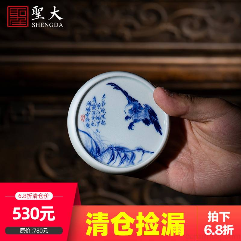 Holy big ceramic cover buy blue and white LuYan hand - made maintain cover all hand jingdezhen kung fu tea accessories cover holder frame