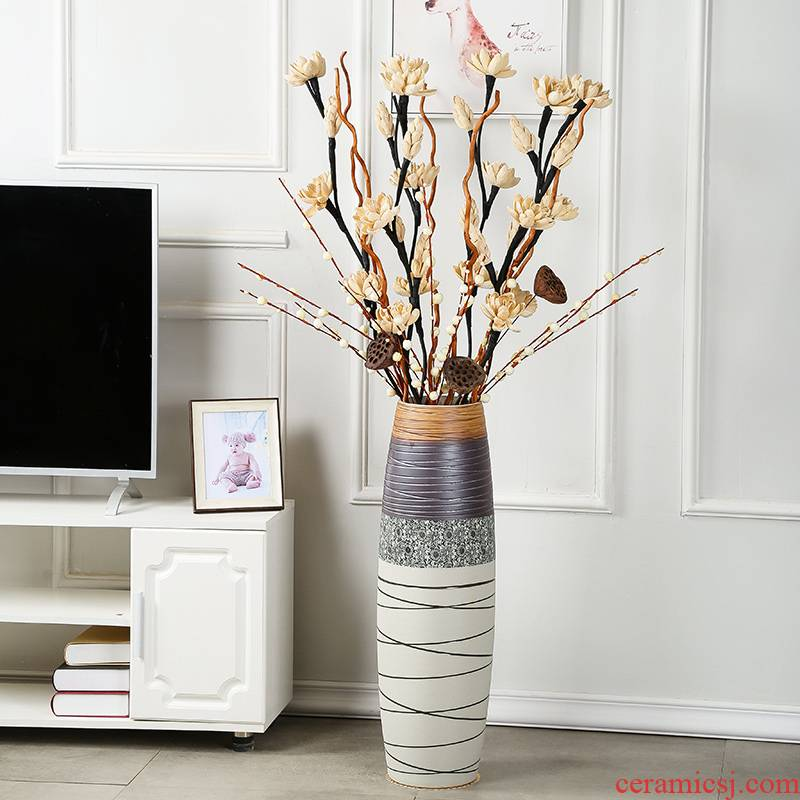 Jingdezhen ceramic vase landing large dried flower adornment furnishing articles sitting room of I and contracted western - style porch flower arrangement