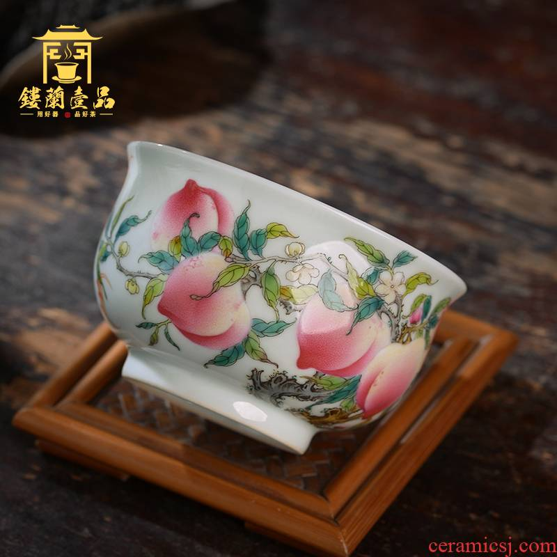 All hand - made pastel eight peaches five bats masters cup of jingdezhen ceramics kung fu tea, large tea cup of individual single CPU