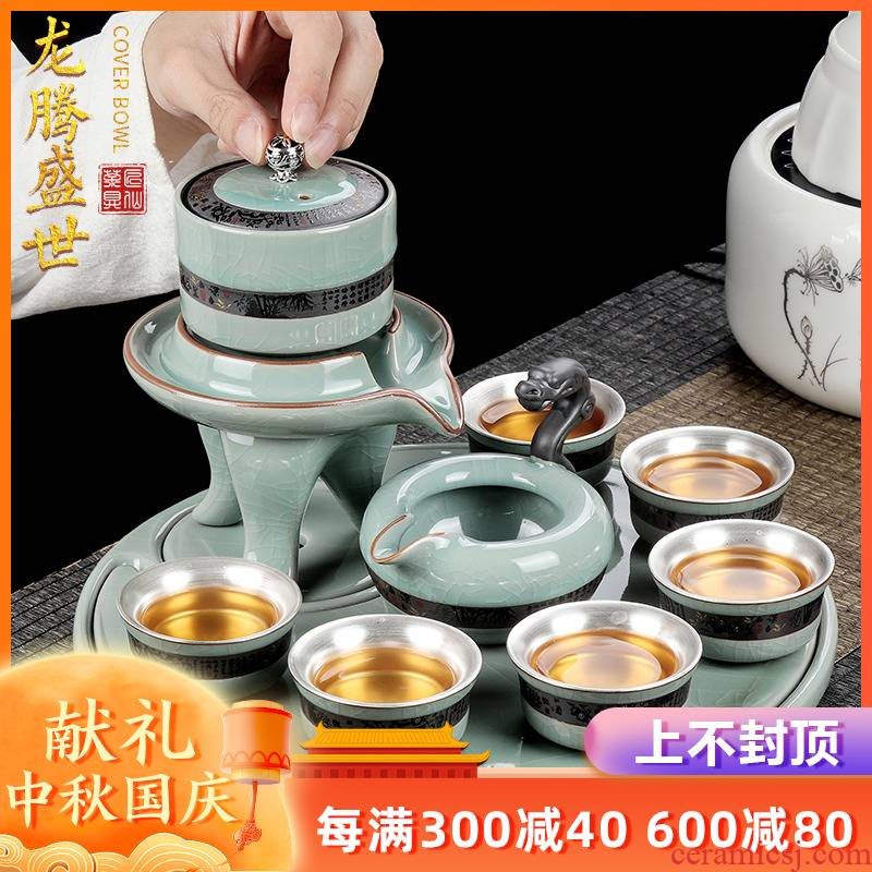 Artisan fairy an elder brother up coppering. As silver half automatic kung fu tea set ceramic household hot teapot set lazy person
