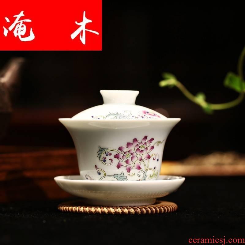 Submerged wood flagship store tureen jingdezhen ceramic cups large kung fu tea set three bowl of pastel worship teacup