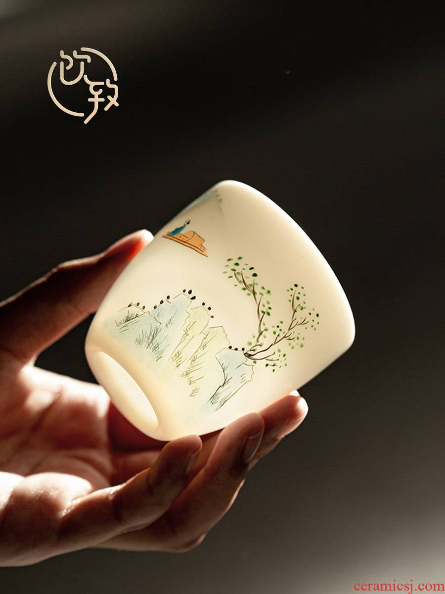 Ultimately responds to dehua white porcelain teacup suet jade porcelain craft master sample tea cup cup single cup large - sized ceramic kung fu tea cups