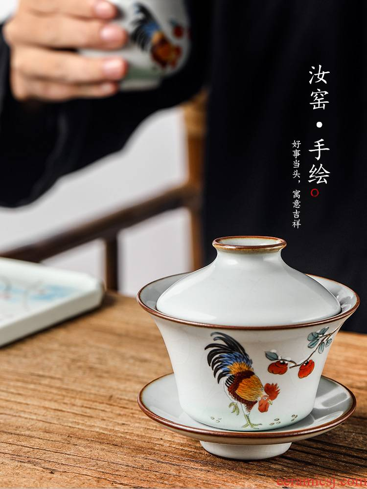 Pure manual only three tureen hand your up jingdezhen tea bowl large chicken hot Chinese zodiac kung fu tea set