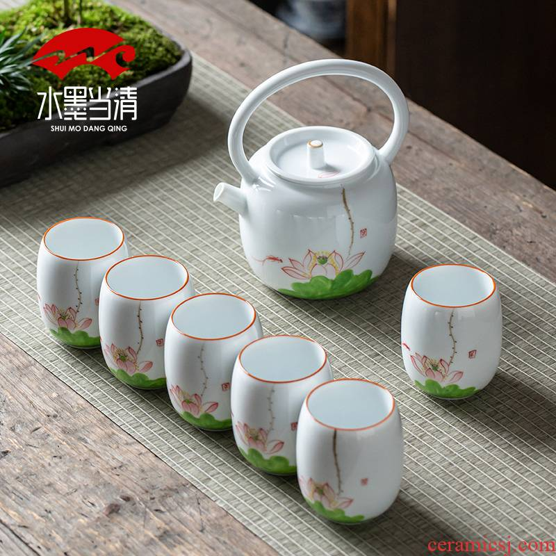 Dehua white porcelain pot a pot of six cups of kung fu tea set small hand - made girder suit household ceramics Chinese teapot teacup