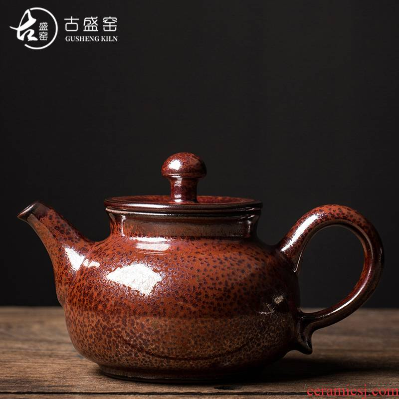 Ancient Chen Weichun xi shi sheng up pot temmoku up built light ceramic teapot tea tea, manual ball hole, single pot