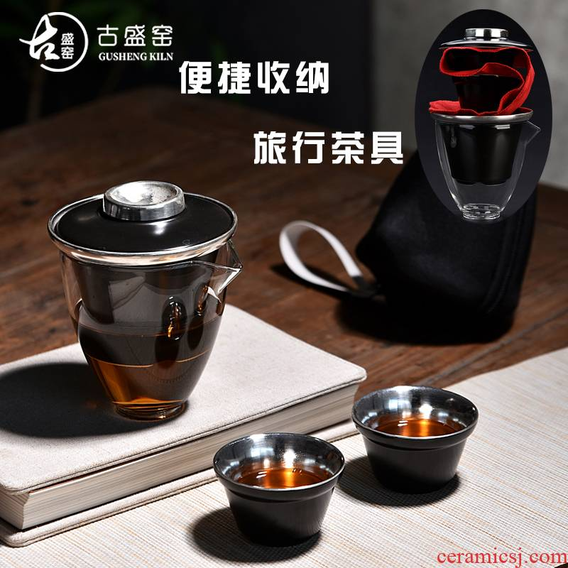 New a pot of ancient sheng up ceramic tasted silver gilding crack cup table flag and glass cup filter mercifully portable travel time