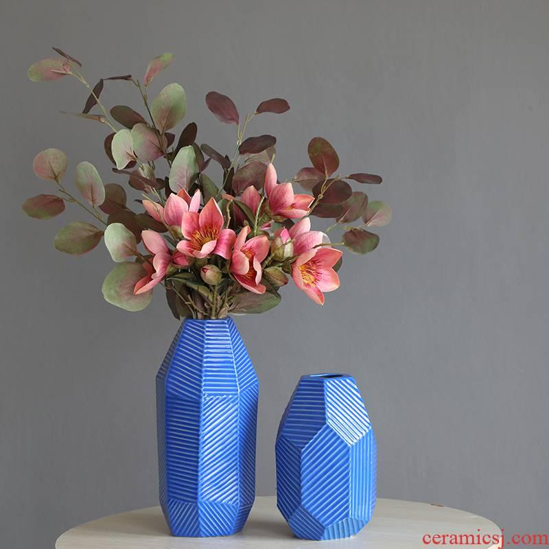 Geometric ceramic vase furnishing articles designer sitting room dry flower flower vase decoration decoration ideas Nordic blue gray